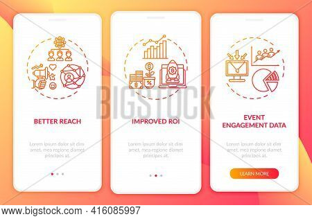 Hybrid Gathering Benefits Onboarding Mobile App Page Screen With Concepts. Roi, Event Data Walkthrou