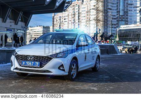 Patrol Police Car Hyundai Solaris (accent, Verna) 5th Generation Restyling, Near Metro (subway) Stat