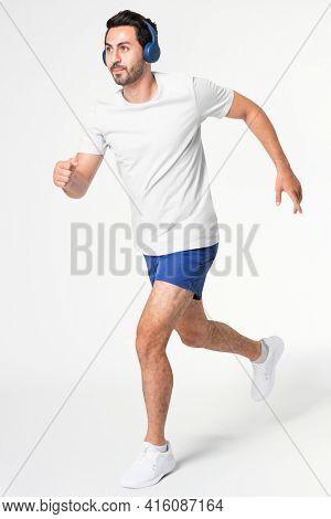 Men's blue running shorts sportswear apparel