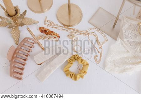 Modern Summer Accessories. Golden Jewellery, Barrettes, Hair Clips, Cosmetics, Perfume And Lace Ling