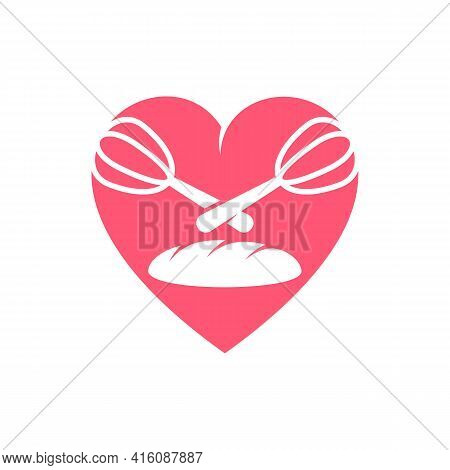 Love Bakery Logo Design Vector Illustration, Creative Bakery Logo Design Concept Template, Symbols I