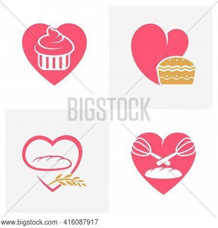 Set Of Love Bakery Logo Design Vector Illustration, Creative Bakery Logo Design Concept Template, Sy