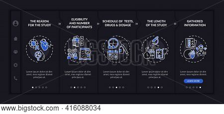 Research Protocol Parts Onboarding Vector Template. Responsive Mobile Website With Icons. Web Page W