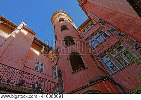 Lyon, France, February 19, 2021 : La Maison Du Crible, Also Known As Pink Tower Because Of Its Ochre