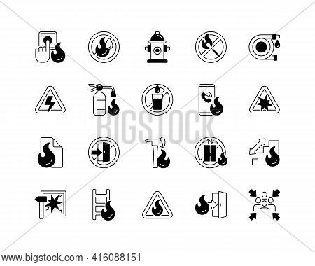 Fire Safety Black Linear Icons Set. Alarm For Emergency. Do Not Use Drinking Water. Pulaski Axe. Lad