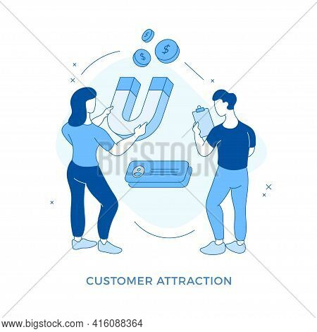 Linear Flat Customer Attraction. Business People Holding Huge Magnet And Attracting Coins. Target Ma