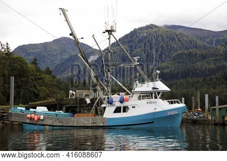 Neets Bay, Alaska / Usa - August 18, 2019: A Fishing Boat At Neets Bay, Neets Bay, Alaska, Usa
