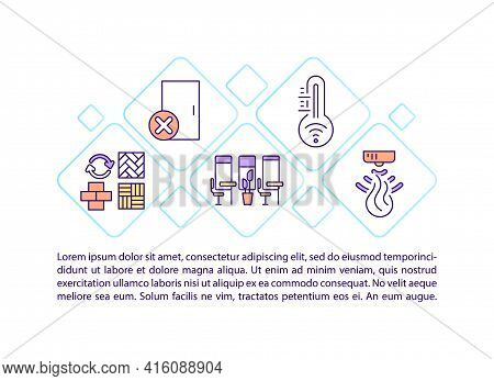 Comfortable Office Environment Concept Line Icons With Text. Ppt Page Vector Template With Copy Spac