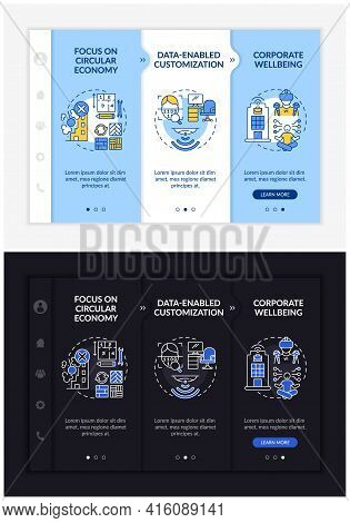Future Worksite Design Onboarding Vector Template. Responsive Mobile Website With Icons. Web Page Wa