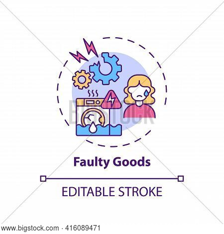 Faulty Goods Concept Icon. Consumer Rights Violation Claim Idea Thin Line Illustration. Unsatisfacto