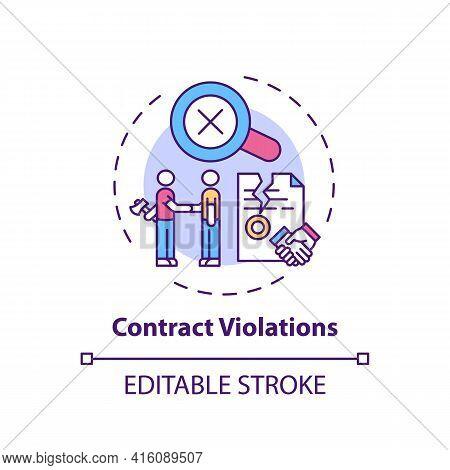 Contract Violations Concept Icon. Consumer Rights Violation Claim Idea Thin Line Illustration. Unfai