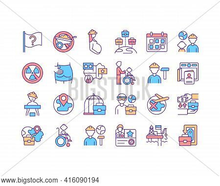 Migrant Workers Rights Discrimination Rgb Color Icons Set. Immigrant Families Social Protection. Sto