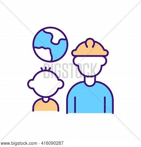 Migrant Worker Family Rgb Color Icon. Migrant Father Moving For Job Abroad. Crossing Border For Labo