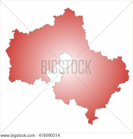 Red And White Silhouette Of A Map Of The Moscow Region Of Russia On A White Background