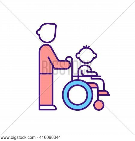 Caregiver Support For Disabled Child Rgb Color Icon. Parent Assisting Kid In Wheelchair. Healthcare