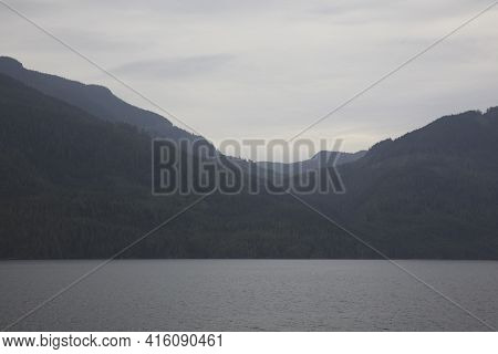 Inside Passage, Alaska / Usa - August 18, 2019: Inside Passage Coastline Landscape, Inside Passage,