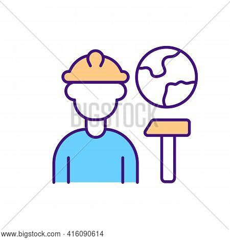 Migrant Worker Rgb Color Icon. Find Legal Job On Construction Site Abroad. Hiring Immigrant For Temp