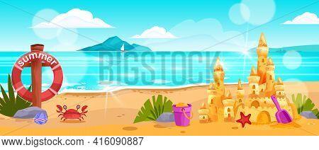 Beach Landscape, Vector Summer Ocean Horizontal View, Surf, Crab, Sand Castle, Lifebuoy, Rocks, Clou