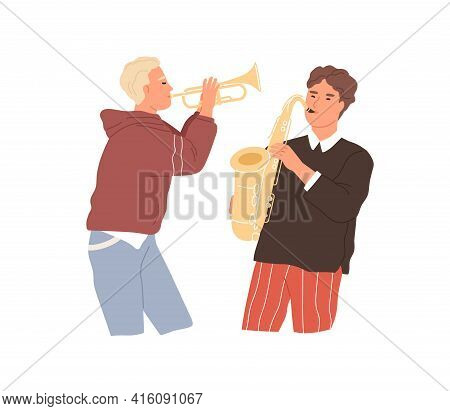 Two Musicians Playing Saxophone And Trumpet. Music Players Performing Jazz With Brass Woodwind Instr