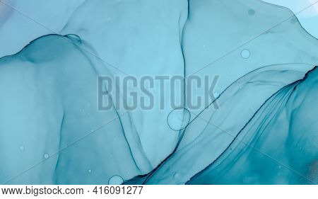 Blue Ocean Abstract. Hand Painted Alcohol Ink Modern Color Marble Design. Turquoise Ocean Waves. Abs