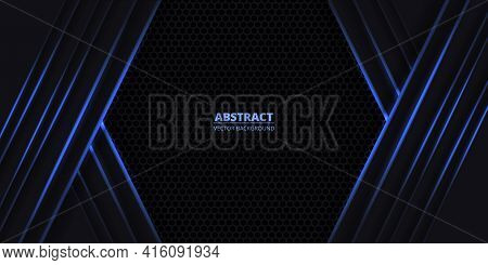 Dark Abstract Vector Background With Black Hexagon Carbon Fiber. Futuristic Background With Blue Lum