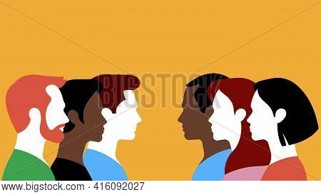 Two Groups Of People Facing Each Other. Silhouettes Of Different Men And Women On A Yellow Backgroun
