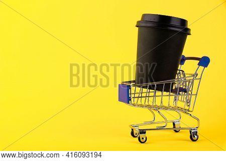 Mini Shopping Trolley, Shopping Trolley, Shopping Basket, Eco Black Paper Cup, Coffee Paper Cup Agai