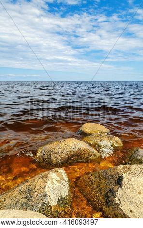 Summer lake, beautiful abstract summer lake. Blue summer lake. The Ilmen Lake, summer water nature, summer water landscape. Summer vacation background