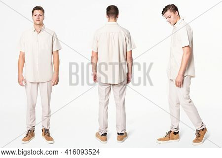 Man in beige shirt and pants casual wear fashion full body