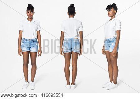 White polo shirt women's casual apparel