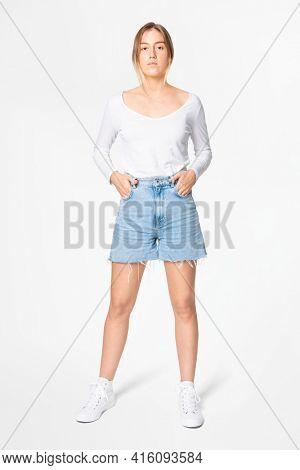 White long sleeve t-shirt women's basic wear full body