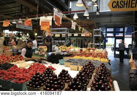 Vancouver, America - August 18, 2019: Fruits At Granville Island Public Market, Vancouver, America