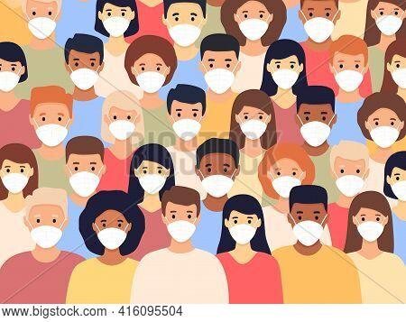 Group Of Multicultural Men And Women Wearing Medical Masks. Coronavirus Pandemic. Pandemic Concept.