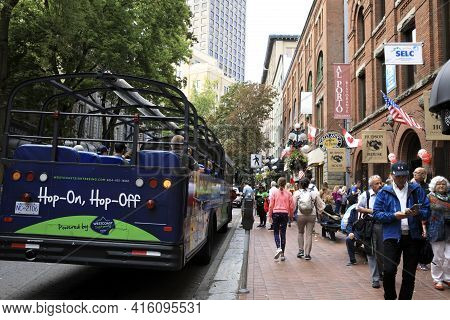 Vancouver, America - August 18, 2019: Vancouver Town Centre, Vancouver, America
