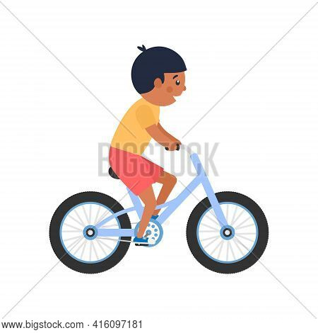 Happy Cute African Boy Riding Bike. Healthy Lifestyle Concept. Little Child With Black Skin Rides Bi
