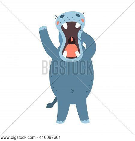 Hippo Flat Style Vector. Wild Herbivorous Animal. African Fauna Species. Violet Hippopotamus Cartoon
