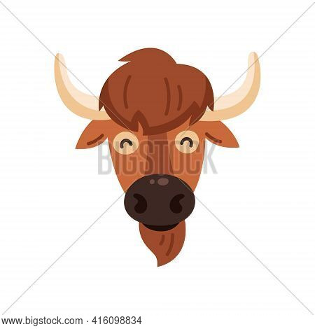 Bison Icon. Vector Illustration Of American Bison, Standing In Profile, In Trendy Flat Style. Isolat