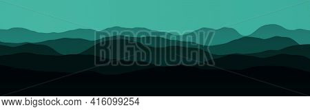 Artistic Hills Slopes In Dark Time Computer Graphics Background Illustration