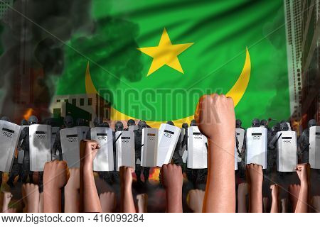 Riot Fighting Concept - Protest In Mauritania On Flag Background, Police Guards Stand Against The Pr