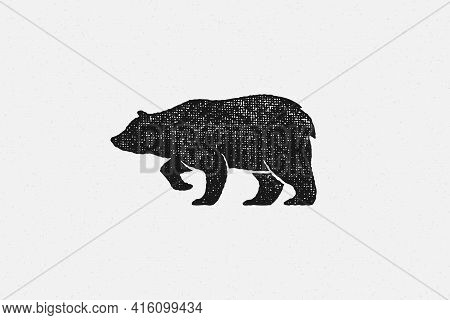 Black Silhouette Of Bear As Symbol Of Wild Fauna In Nature Hand Drawn Stamp Effect Vector Illustrati