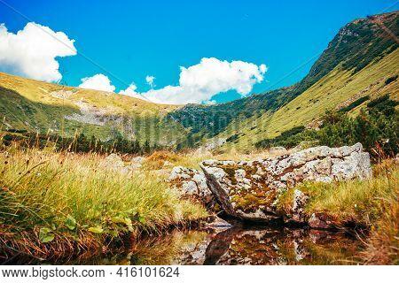 A Close Up Of A Hillside Next To A Mountain