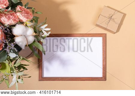 Flowers Bouquet, Frame With Copy Space, Diy Gift Box On Beige Backdrop For Womens Day, Valentines Da