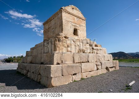 Tomb Of Cyrus The Great, Fars Province, Iran, On A Hot Sunny Day. Famous Historical Site Of Ancient
