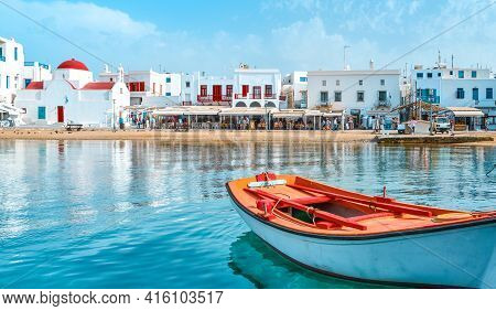 Beautiful Summer Day, Greek Island Seafront. Fishing Boats, Whitewashed Houses. Red Dome Church. Sma