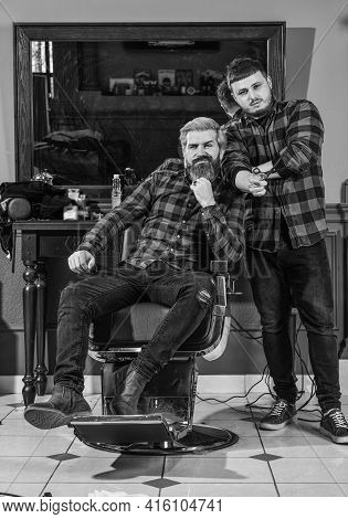 Beard Grooming. Barbershop Services. Perfect Look. Facial Hair. Handsome Hipster. Person Sitting In