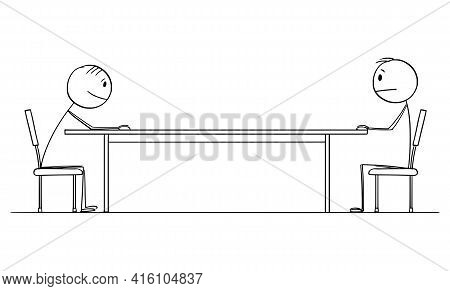 Two Men Or Businessmen Sitting At Table, Job Interview Or Business Negotiation. Cartoon Stick Figure