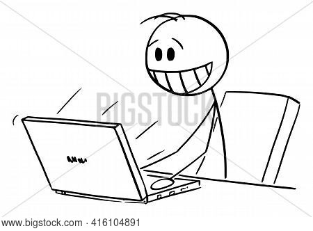 Happy Smiling Man Or Businessman Working On Computer In Office,  Cartoon Stick Figure Illustration