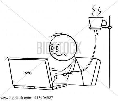 Overworked Or Tired Office Worker, Man Or Businessman Working On Computer With Coffee Infusion,  Car