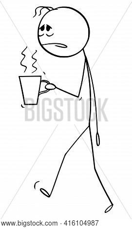 Tired Or Overworked Man Or Office Worker With Cup Of Coffee Or Tea,  Cartoon Stick Figure Illustrati