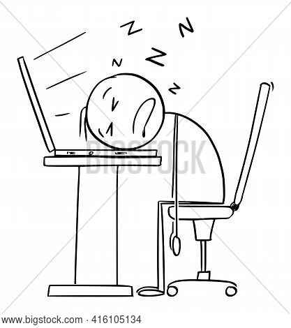 Sleeping On Computer Keyboard, Tired Or Overworked Office Worker Or Businessman In Office,  Cartoon